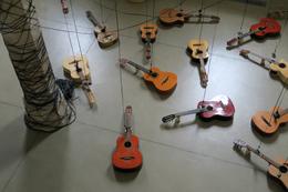 Plan en plongée des guitares en exposition.